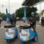 Segway goMobiili mop/up Kiosk selling ice cream at Helsinki football stadion.